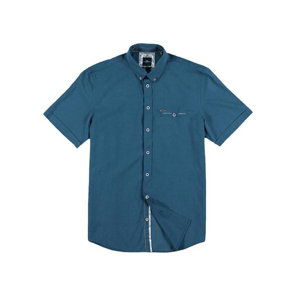 Sommerliches Kurzarmhemd mit floralen Kontrastdetails