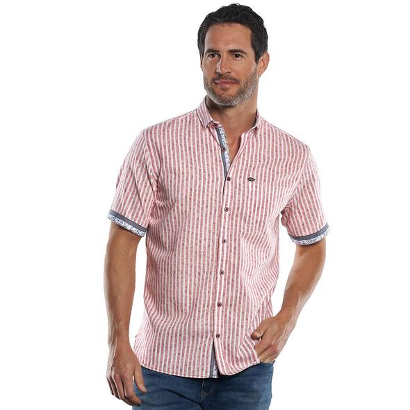 Gestreiftes Kurzarmhemd mit Kontrastdetails