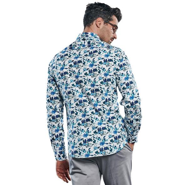 Stretch Hemd mit floralem All-Over-Print