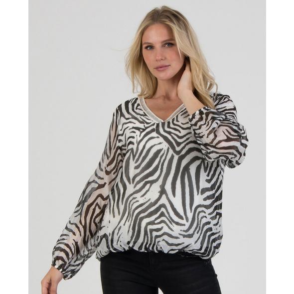 Seidenmix-Bluse mit Zebraprint