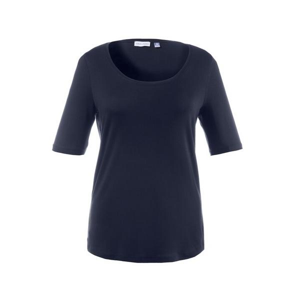 T-Shirt, weiter Rundhalsausschnitt, Elasthan