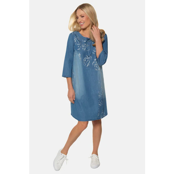 Gina Laura Kleid, Denim-Optik, Wascheffekte, 3/4-Ärmel