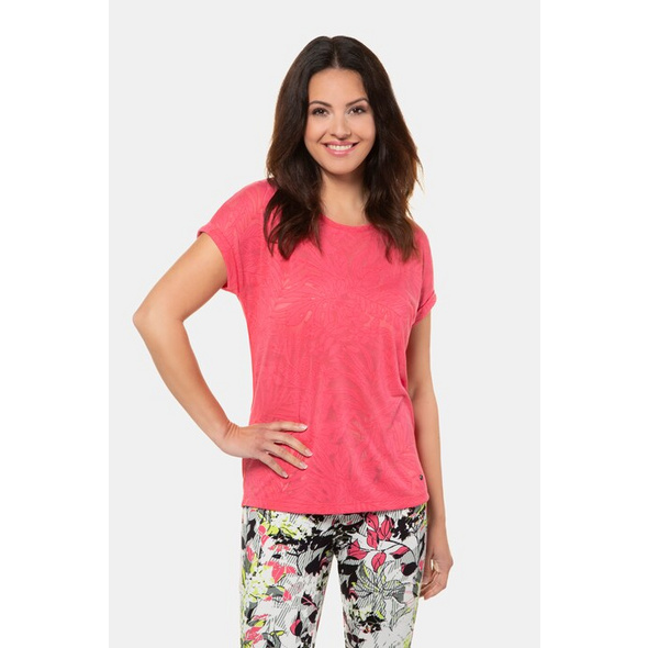 Gina Laura T-Shirt, vorne geblümt, Rücken uni, Ausbrennerjersey