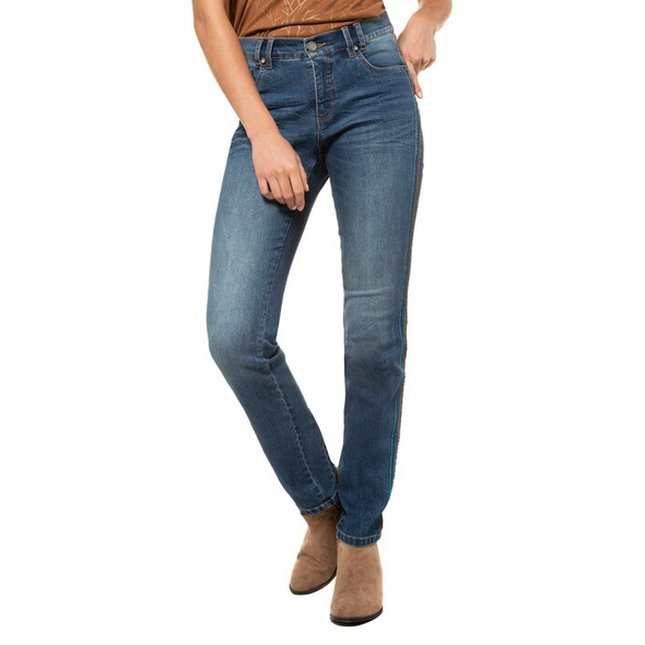 Jeans Julia, seitliche Samtbänder, schmale 5-Pocket