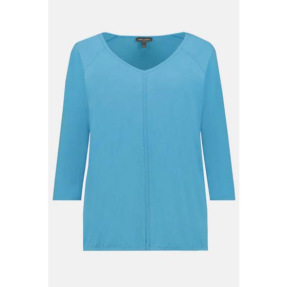 Gina Laura Shirt, elastischer Saum, Oversized, 3/4-Arm