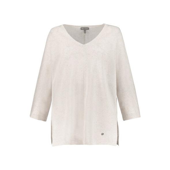 Pullover, Leinenmix, V-Ausschnitt, 3/4-Ärmel