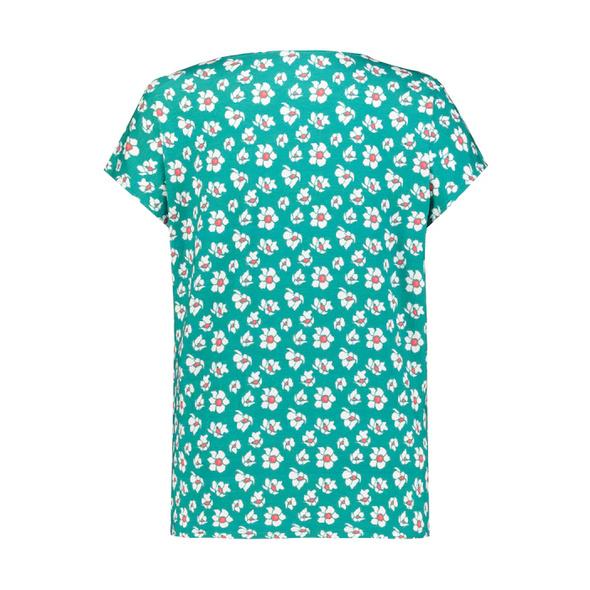 T-Shirt, Blumenmuster, Keyhole-Ausschnitt