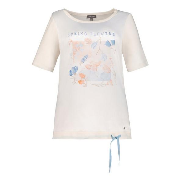 T-Shirt, Blütenmotiv, Saumband, Jersey-Rücken