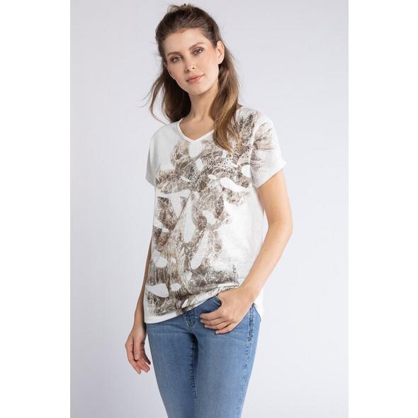 Gina Laura T-Shirt, Palmenmotiv, geraffter Rückenausschnitt