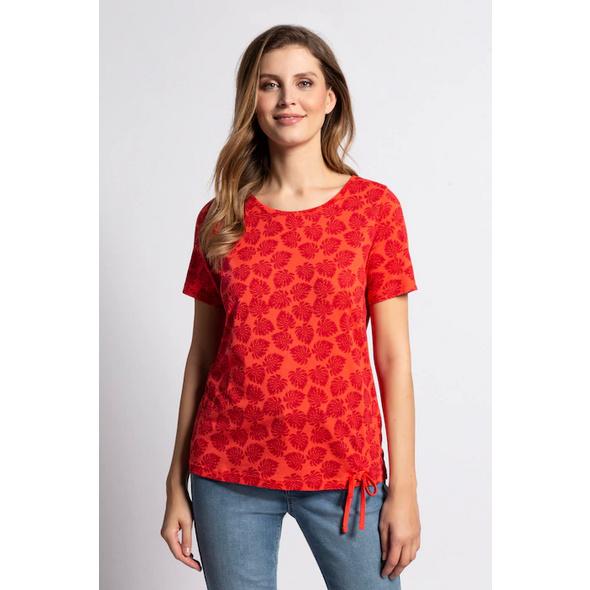 Gina Laura T-Shirt, Blättermuster, Saum-Raffband