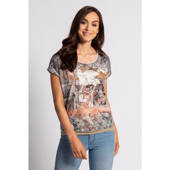 Gina Laura T-Shirt, Blättermuster, Streifenbündchen, Ausbrenner