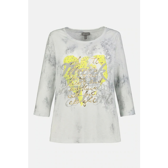 Shirt, Herzmotiv, Statement, 3/4-Arm
