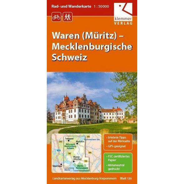 Waren (Müritz)   Mecklenburgische Schweiz 1 : 50 000 Rad- und Wanderkarte