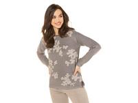 Pullover, Blütenmuster, Jacquard-Strick, Rollkanten