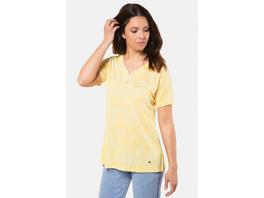 T-Shirt, grafisches Blütenmuster, Ausschnitt-Knöpfe