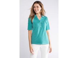 Gina Laura Poloshirt, cool dyed, Webkragen, Halbarm