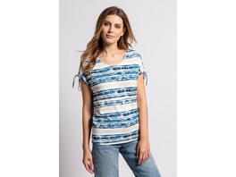 Gina Laura T-Shirt, Streifenmuster, Oversized, Ärmel-Raffbänder
